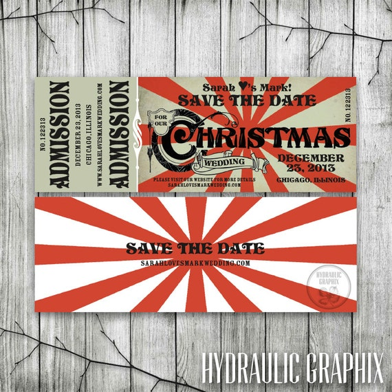 christmas wedding save the date ticket printable ticket etsy