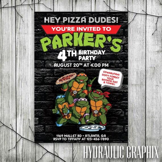 Ninja Turtles Birthday Invitation TMNT Party Teenage Mutant