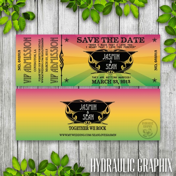 concert ticket save the date printable ticket wedding invitation