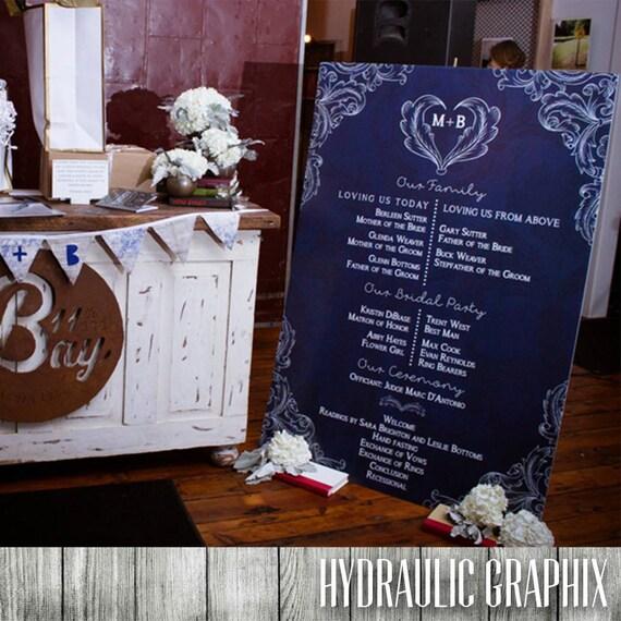 Large Wedding Program Oversized For Ceremony