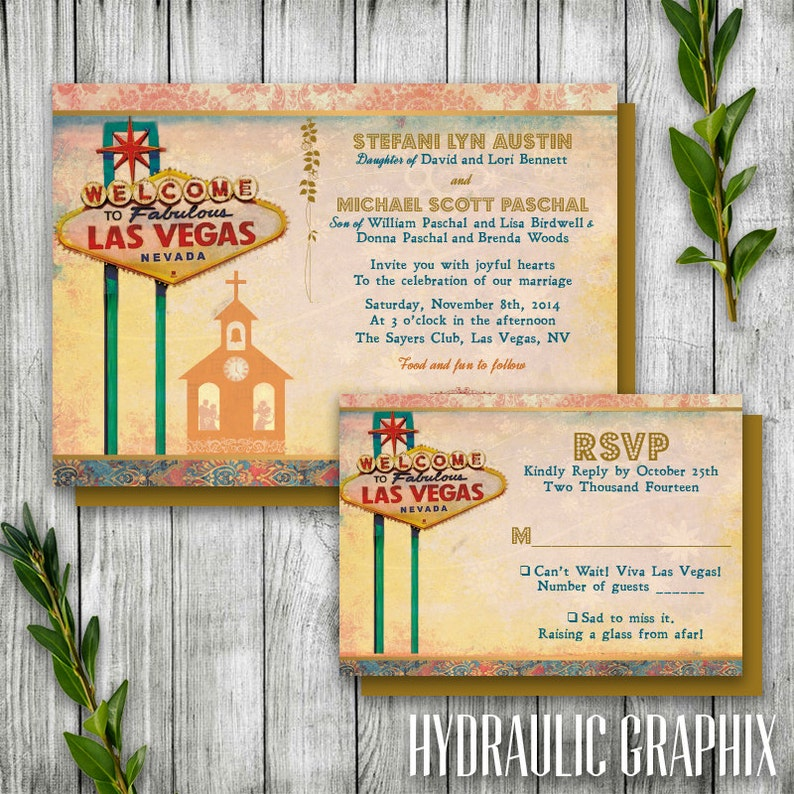 Wedding Invitation with Elvis Las Vegas Theme Destination Wedding Invitation Printable Las Vegas Wedding Invitation Set with Chapel