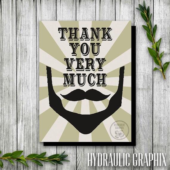 Hipster Beard Mustache Birthday Thank You Card Printable Thank