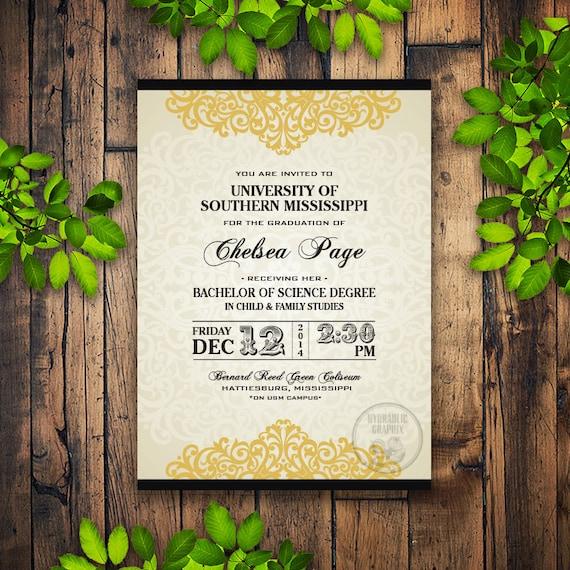 formal graduation invitation printable college grad announcement