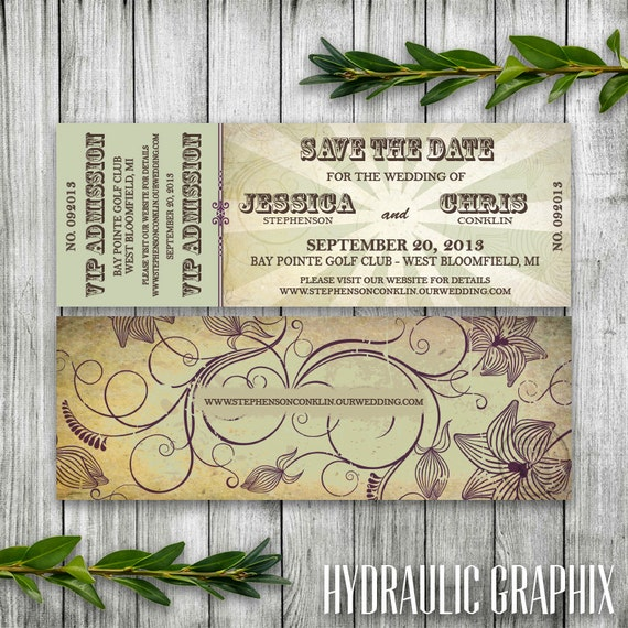 Wedding Save The Date Concert Ticket For Organic Music