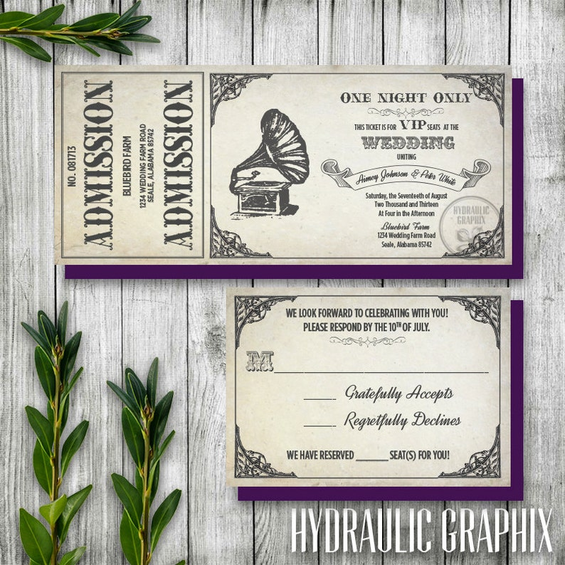 Vintage Gramophone Wedding Ticket Invitation and RSVP