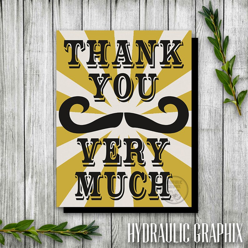 Manly Birthday Party Steampunk Party Thank You Card Printable Thank You Card Birthday Theme for Man Mustache Party Thank You Card