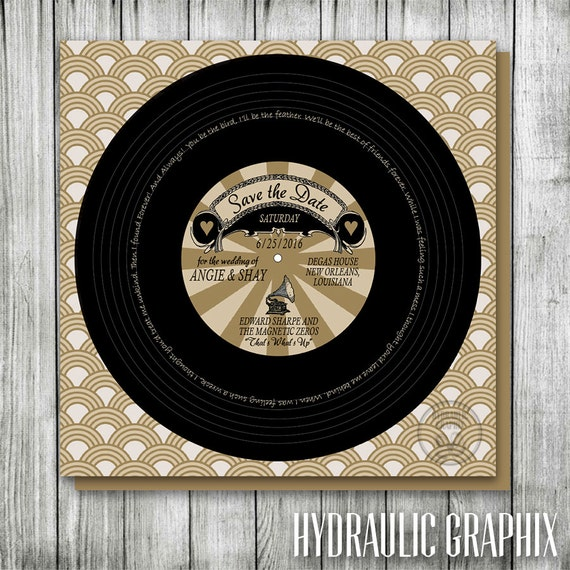 Vinyl Record Wedding Save The Date Vintage Hollywood Birthday
