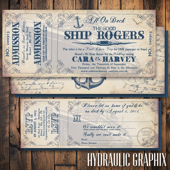 Cruise Ship Ticket Invitation and RSVP, Printable Ticket Invitation ...