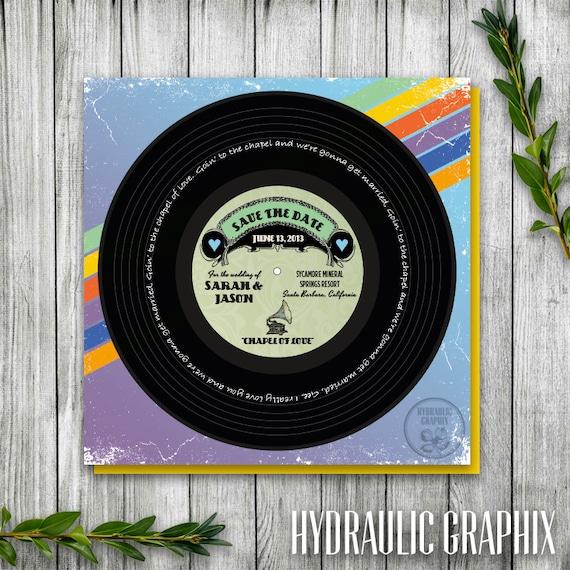 Vinyl Music Record Printable Save The Date Wedding Invitation