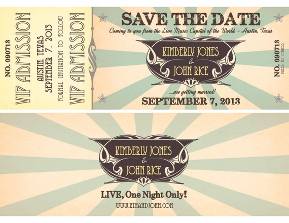 Printable Concert Ticket Wedding Save The Date With Vip Etsy