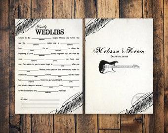 Rock N Roll Wedding Mad Libs with Guitar, Marriage Advice Mad Lib Card, Printable Mad Lib Card, Guest Book Alternative, Music Theme Wedding