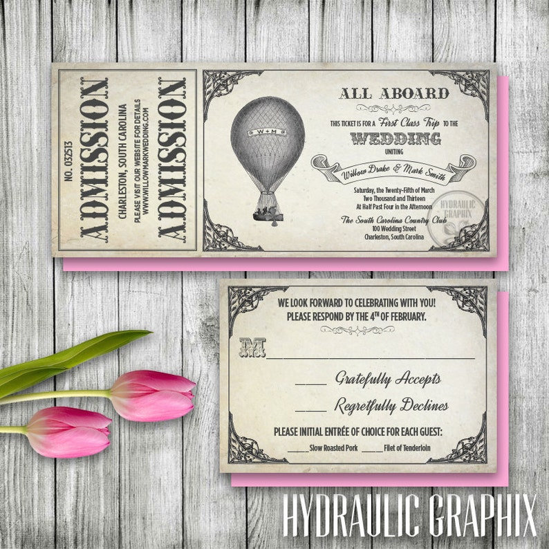 Hot Air Balloon Invitation Set, Printable Ticket Invitation