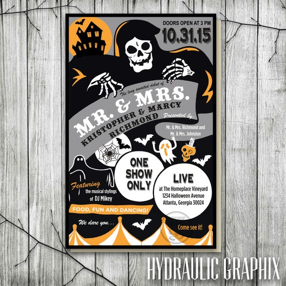 vintage halloween poster invitation halloween wedding invite
