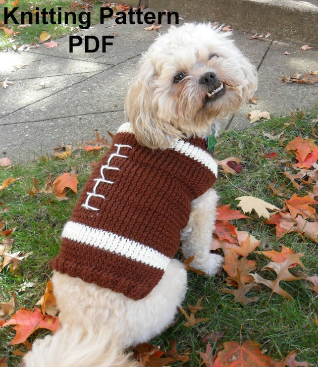 Football Dog Sweater Knitting Pattern Pdf Small Dog Sweater Etsy