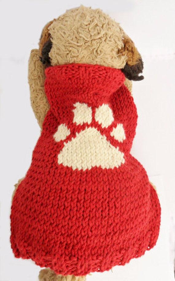 Dog Sweater Knitting Pattern With Paw Print Pdf Small Dog Etsy