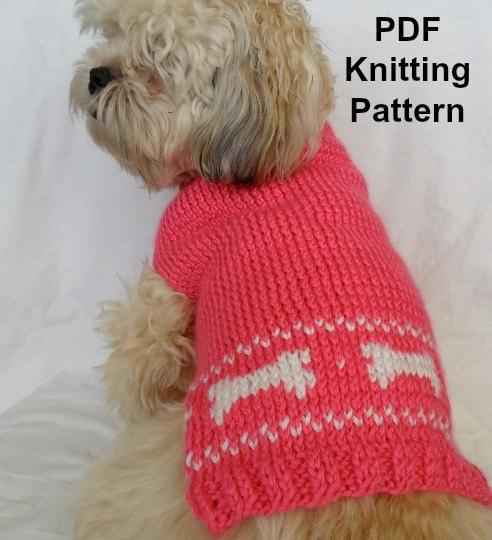 Cute Dog Sweater Knitting Pattern Pdf Small Dog Sweater Etsy
