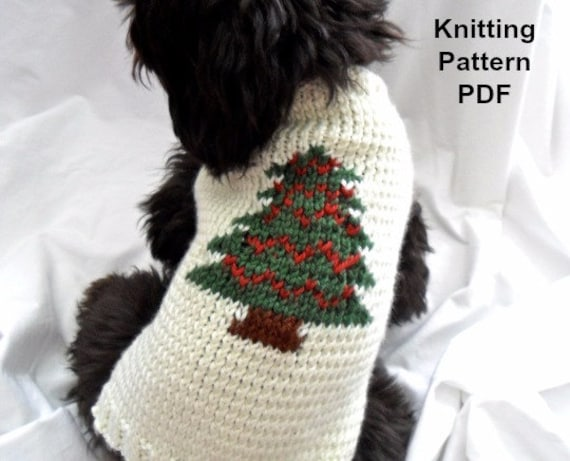 Christmas Dog Sweater Knitting Pattern Pdf For Small Dogs Etsy