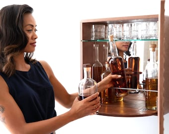 KARVD Hitch - Wall Mounted Liquor Cabinet - Space Saving Cocktail Bar - Compact Whiskey Cabinet - Hanging Mini Bar - Hidden Murphy Bar