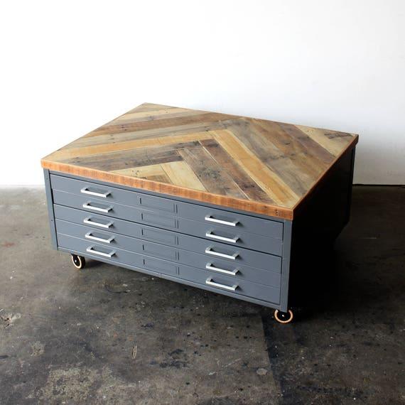 Repurposed Coffee Table Reclaimed Wood Herringbone Vintage | Etsy