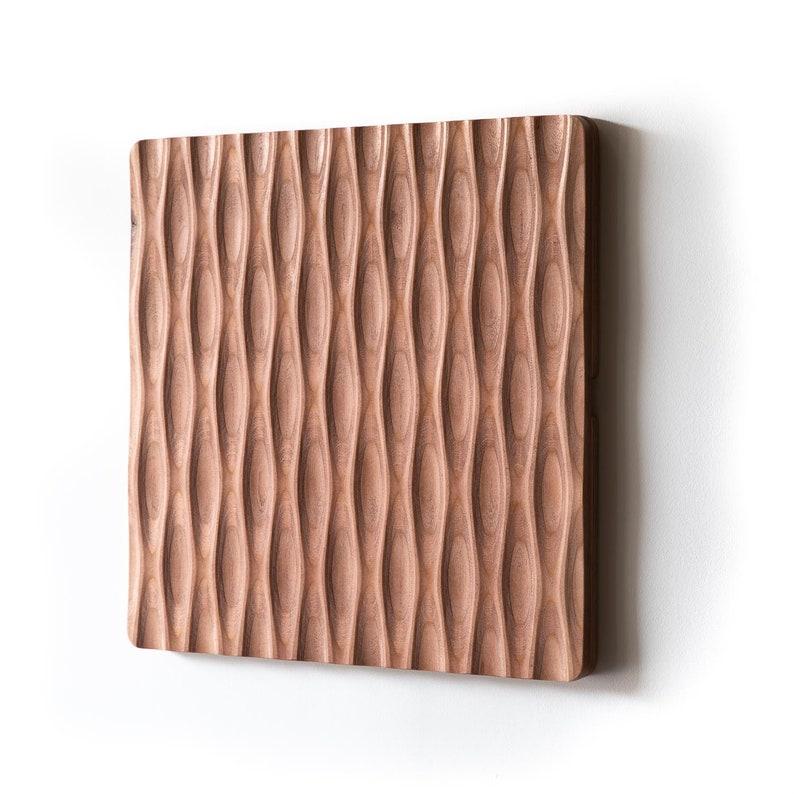 KARVD Tiki  Wood Carved Wall Panel  Sculptural Wall Art  3D Brown