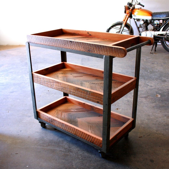 Well known Industrial Bar Cart Reclaimed Wood Serving Cart Rustic FZ81