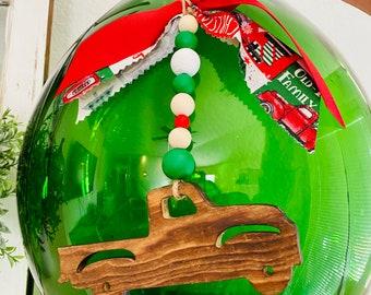 Vintage Truck Ornament   Wooden Ornament   Truck Ornament   Wooden Bead Ornament   Christmas Truck Ornament