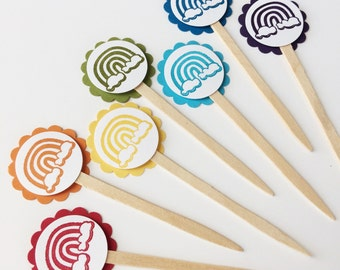 Rainbow Party Mini Cupcake Toppers   Rainbow Party   Colorful Birthday   Rainbow Baby Shower