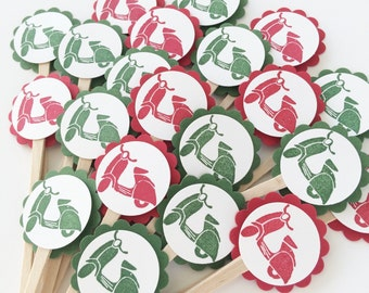Italian Party Mini Cupcake Toppers   Vespa Scooter   Wedding   Bride to Be   Bridal Shower   Birthday   Italy