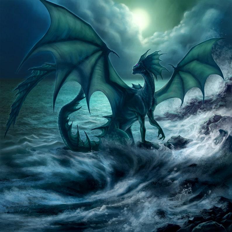 Antiya the Pure Black Dragon Dragon by the Beach Art Print image 0