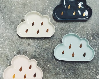 porcelain cloud dish : trinket plate with gold rain