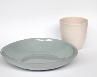 organic pasta bowl - porcelain (concrete colour)