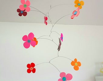 Pink Flower mobile, pink red orange, retro style flowers, 1970s inspired, bright home decoration, kinetic mobile handmade by Becky Crawford