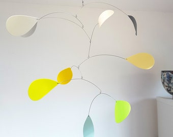 Modern kinetic hanging mobile, sustainable home decor, green yellow grey, upcycled plastic mobile handmade by Becky Crawford from Spacefruit