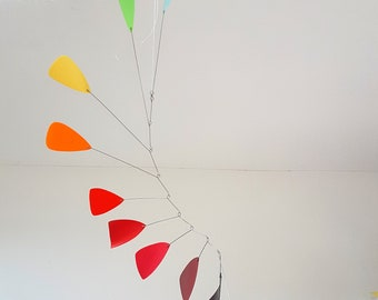 Kinetic modern mobile, red orange yellow, unique one off handmade from recycled plastic by Becky Crawford from Spacefruit