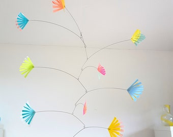 Pastel kinetic mobile, girls bedroom decor, girls nursery mobile, hand made from recycled plastic bottles by Becky Crawford from Spacefruit