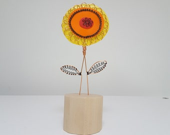 Small flower shelf sculpture, forever flowers, floral gift for mum, sister, grandma, made by hand from recycled plastic by Becky Crawford