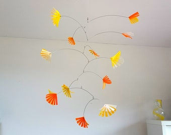 Yellow orange mobile for nursery or playroom, kinetic mobile handmade from recycled plastic bottles by Becky Crawford from Spacefruit
