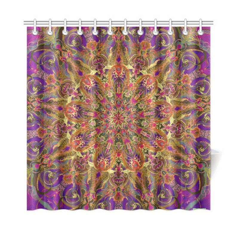 Artistic Shower Curtain Mandala Bathroom Decor Customizable Original Gift Home And Living