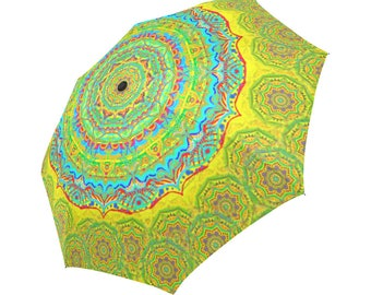 Artistic mandala-Assorted colors- Large  umbrella-parasol-rain umbrella-compact-innovative- Rain and sun- customizable--Handpainted design