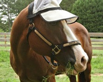 90% UV proof horse sun visor with ears!  Protect your light eyed equine!