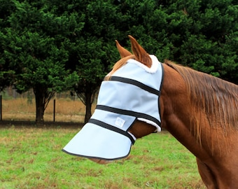 High Brow Full face shade 90% UV protection, durable and comfortable also fly mask with sheepskin