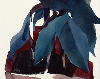 Plant Life, Still life, Original Watercolor Painting on Paper, 11 x 15 inches, Artist Daniel Novotny