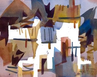 A Pattern, Italian Streetscene, Original Watercolor Painting on Paper, 11 x 15 inches, Artist Daniel Novotny