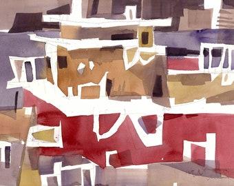 Big Boat, Italian Harbor, Original Watercolor Painting on Paper, 11 x 15 inches, Artist Daniel Novotny