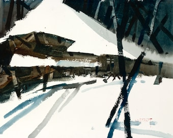 Wooden Church in Snow, Slovakian Landscape, Original Watercolor Painting on Paper, 11 x 15 inches, Artist Daniel Novotny