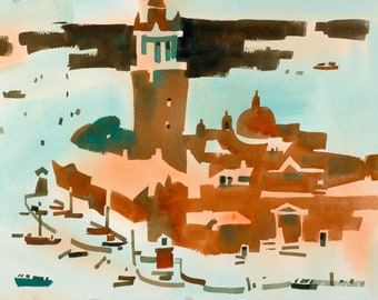 View from St Mark's Campanile, Venetian Vista, Original Watercolor Painting on Paper, 11 x 15 inches, Artist Daniel Novotny