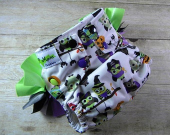 Trick or Treat Owls Ruffle Butt OS Ai2 w/ Bamboo Insert Cloth Diaper All in Two