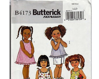 Toddlers'/Children's top, dress, shorts and pants / Original Butterick Uncut Sewing Pattern B4173