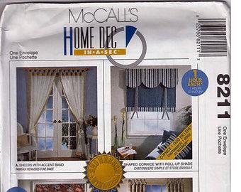 Window Treatments / Original McCall's Home Dec In A Sec Uncut Sewing Pattern 8211