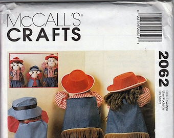"Time To Dress Doll Clothes for 25"" and 36"" dolls / Original McCall's Crafts Uncut Sewing Pattern 2062"